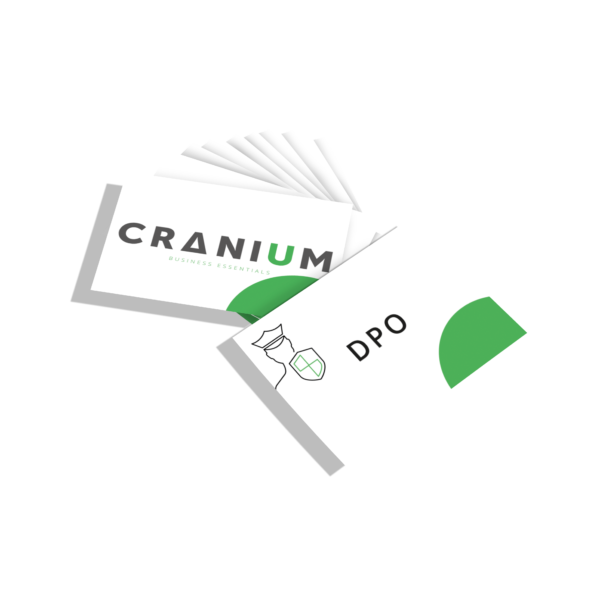 White and green CRANIUM Business Essentials DPO business cards