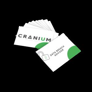 White and green CRANIUM Business Essentials DPO business cards data breach advisor business cards