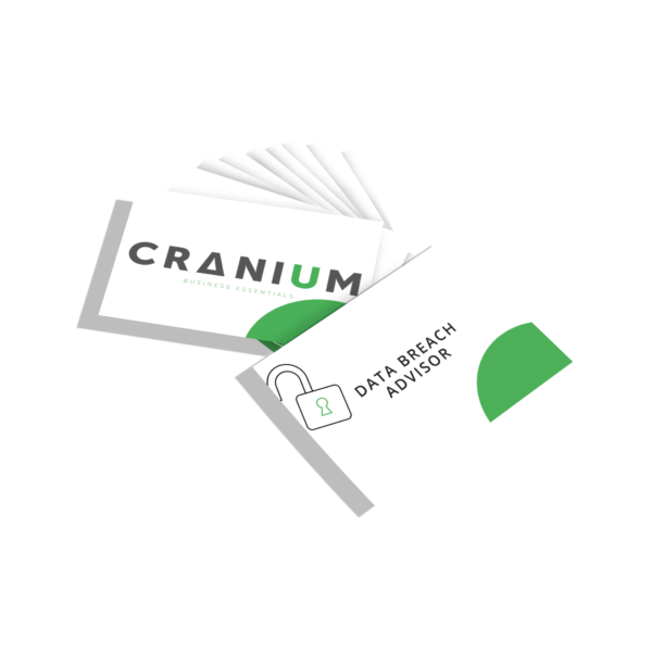 White and green CRANIUM Business Essentials DPO business cards data breach advisor business cards