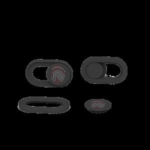 Black webcam cover with CRANIUM red and white fingerprint