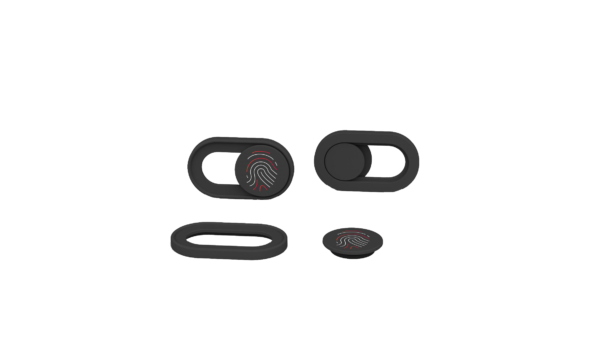Black webcam cover with CRANIUM red and white fingerprint