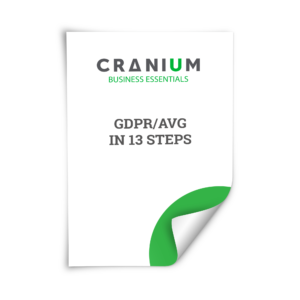 White and green CRANIUM Business Essentials GDPR/AVG in 13 steps document