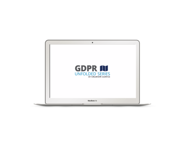 Silver laptop with CRANIUM Campius GDPR unfolded logo on white screen